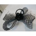 Czarno srebrny stroik z krynoliny do włosów sukni kapelusza