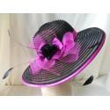 Iwona 2w1 czarny z fuksją letni kapelusz