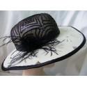Lidka-śmietankowo czarny kapelusz filcowy 54-56 cm