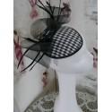 Pepitka biało czarny mini toczek fascynator