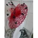 Teofila - czerwono czarny szałowy kapelusz- Derby Hat
